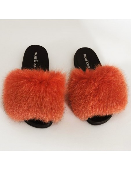 women's slippers in genuine fox fur