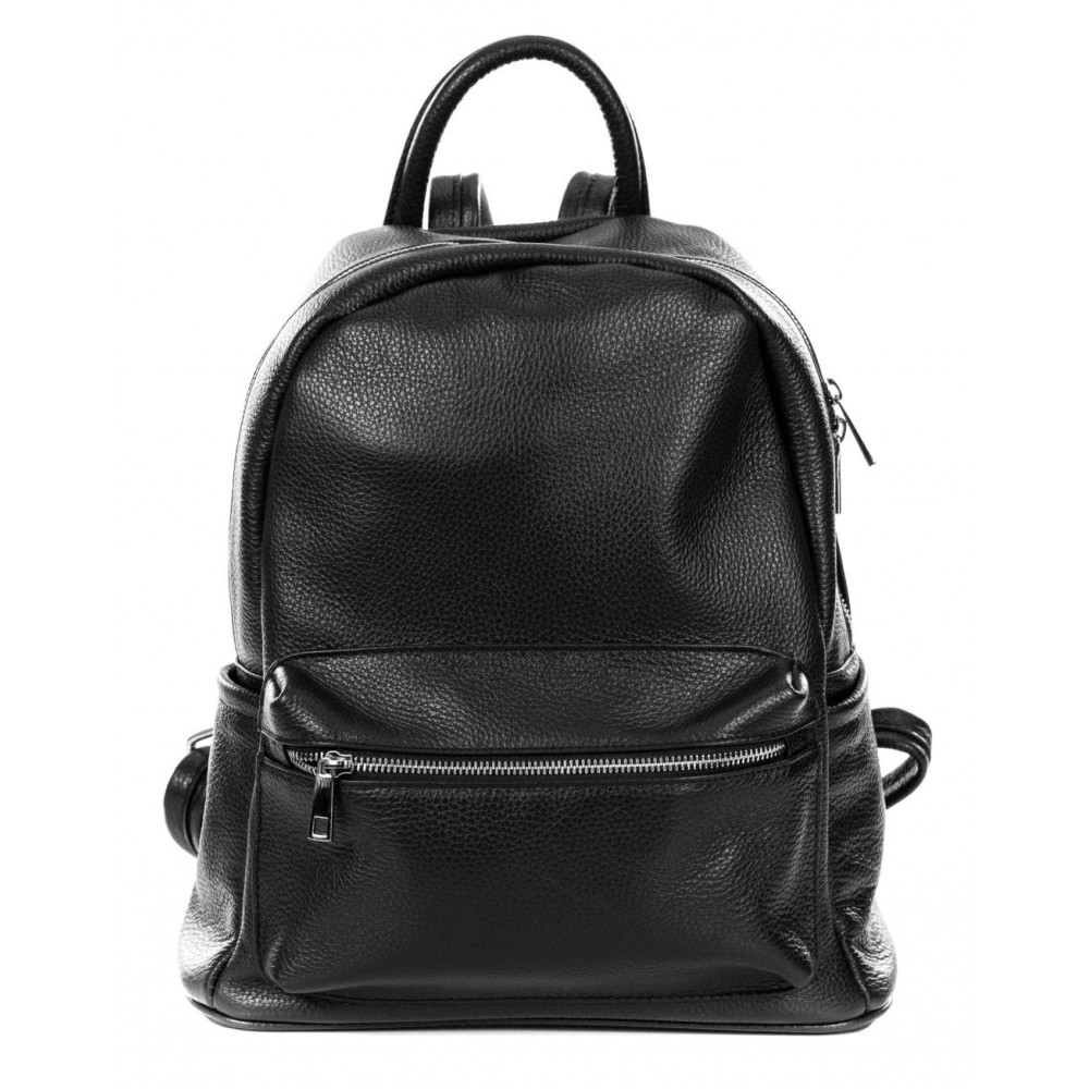 BLACK GENUINE LEATHER BACKPACK