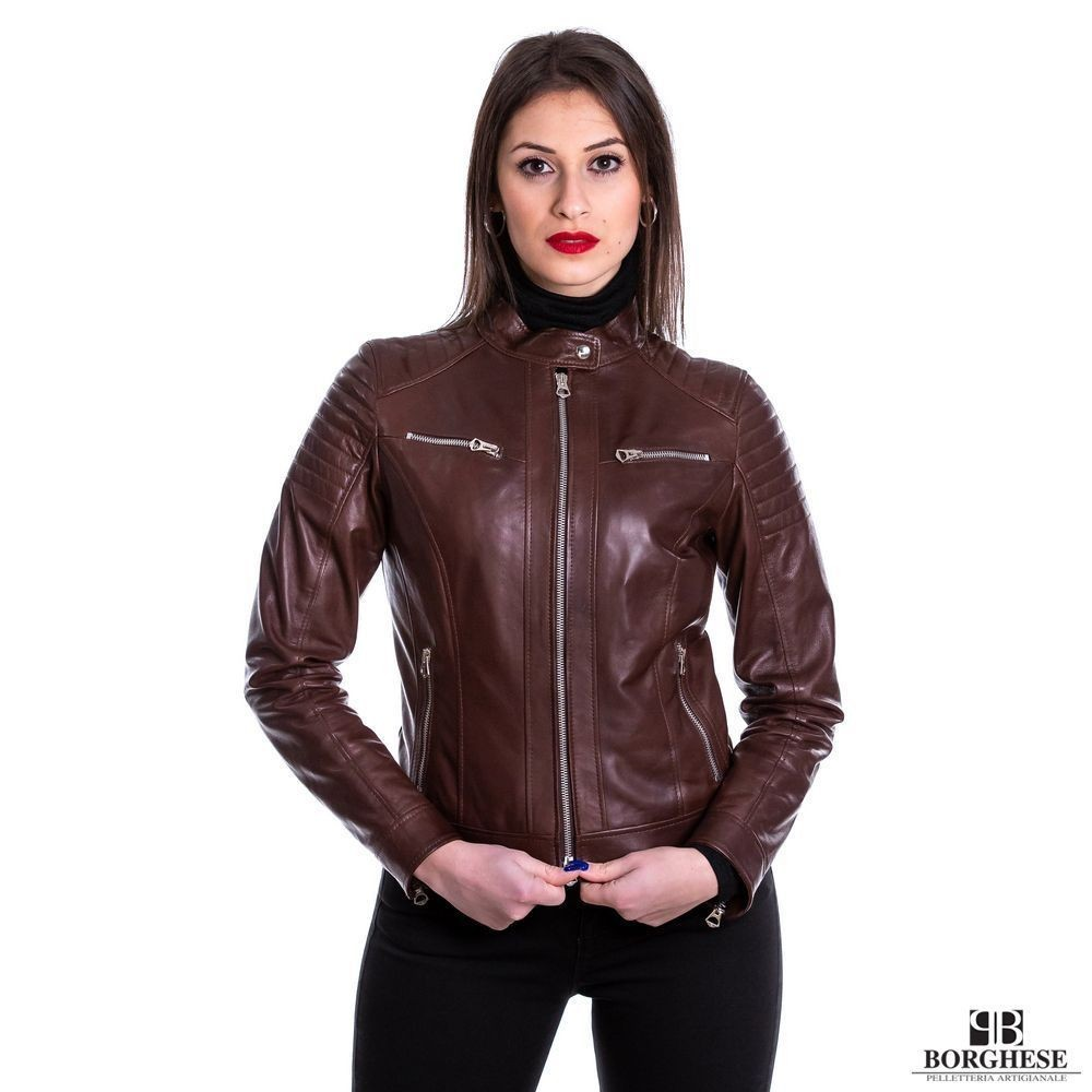 BIKER DA DONNA IN VERA PELLE MARRONE