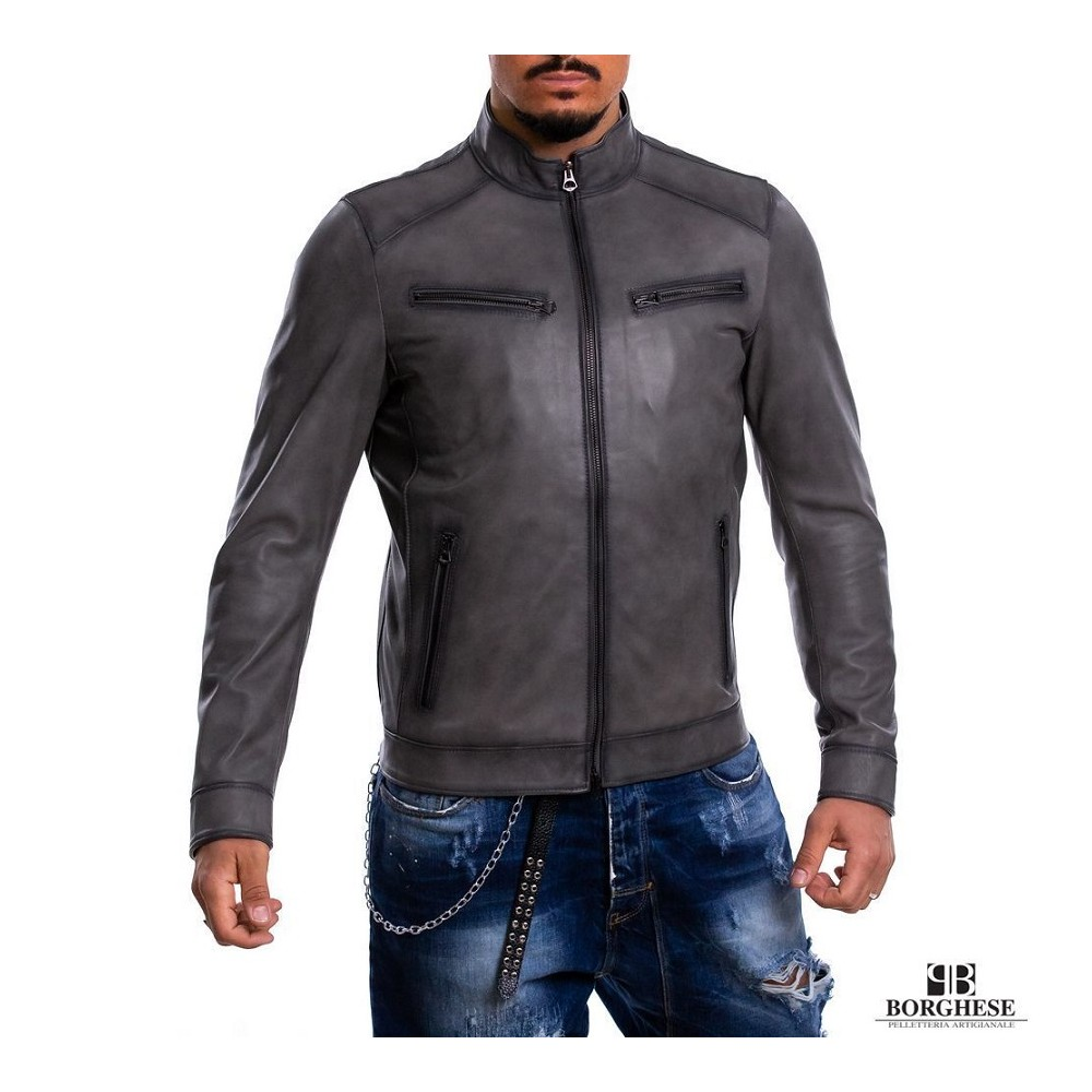 Biker men's jacket in genuine gray airbrushed leather